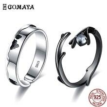 Vintage Ring Wedding-Rings Moonstone GOMAYA 925-Sterling-Silver Jewelry Adjustable Lovers'