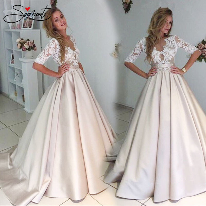 SERMENT Spring Fall Long Gowns For Women  Dresses Evening Satin Group Lace Pattern Evening Dress For Formal Evening Party