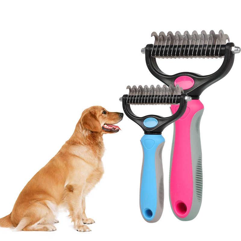 Многофункциональная двухсторонняя расческа для кошек и собак, инструменты для ухода за питомцами, бытовая Расческа для удаления волос, аксессуары для домашних животных, триммер в форме грабли