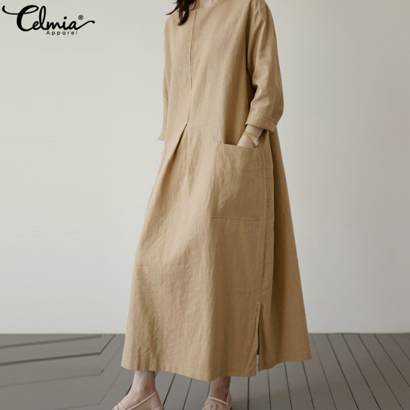 Vintage Linen Shirt Women Long Sleeve Dress 2019 Celmia Autumn Casual Loose Pockets Female Vestidos Solid Pleated Robe Plus Size