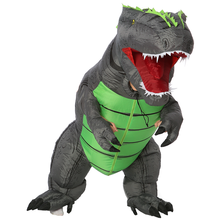 Купить с кэшбэком Christmas Adult T-REX Inflatable Costume Cosplay Dinosaur Animal Jumpsuit Halloween Costume for Women Men Blow Up Fancy Dress