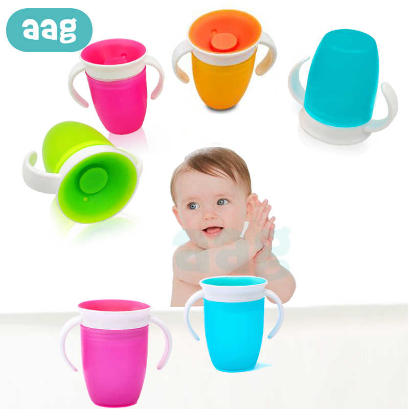 AAG Baby Cups 360 Degrees Can Be Rotated Baby Learning Drinking Cup Handle Flip lid Leakproof Infant Feeding Bottle BPA Free
