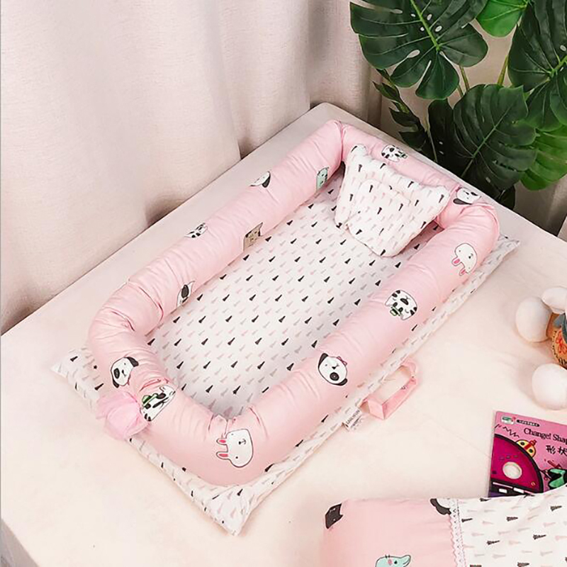 Newborn Outdoor Portable Crib Sleeping Baby Basket Nest Crib  Baby Bed Cotton Travel Protection Pad Printing YCQ002