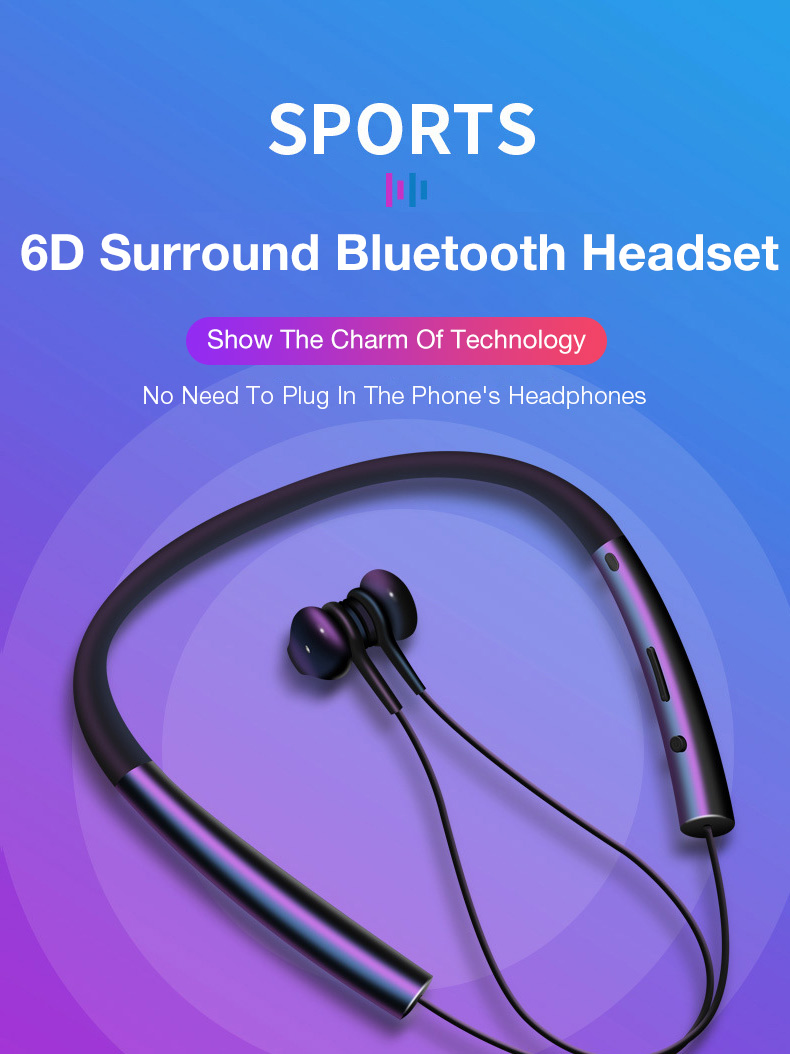 KUSDO Bluetooth Earphone Wireless Magnetic Neckband Earbuds Handsfree Sport  Stereo Earpieces For Samsung Xiaomi With MIC