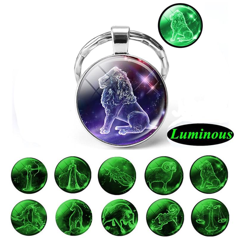Glow In The Dark 12 Constellation Keychain Luminous Zodiac Stainless Steel Metal Keyholder Men Car Keyring Gifts