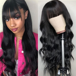Body Wave Human Hair Wigs With Bangs Full Machine Made Wigs Tuneful Natural Black Brazilian Remy Hair Wigs With Bang For Women