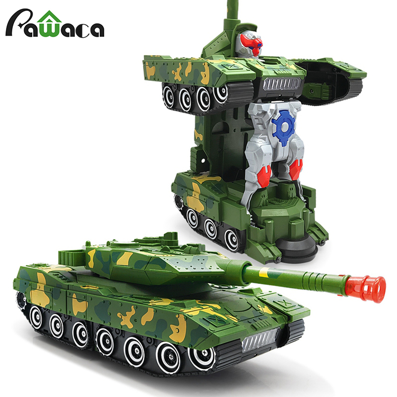 Electric Universal Deformation Tank Cool Car Robot Toy Radio Drifting Car With Sound LED Lights Transformation 360° Rotat