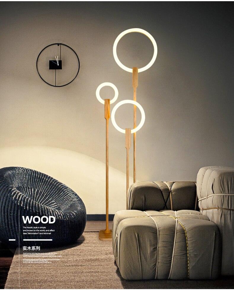 Lâmpada de assoalho de madeira nordic led