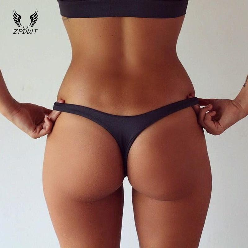 Brazilian Cheeky Bottom Thong V Swimsuit Bottom Bikini T-Back Swimwear Swim Shorts Beach Pants Hipster Briefs Thong Underwear