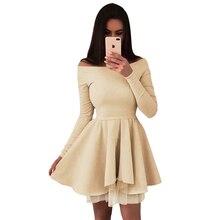 Fashion Dresses Woman Party Night New Women Fluffy Long-sleeved Dress Slash neck Clothes 2019 Boho Style Mini