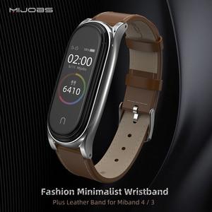 Image 2 - Mi Band 5 Strap for Xiaomi Mi Band 4 Bracelet Genuine Leather Wristband for Xiao Mi Miband 3 NFC Accessory Miband 5 Wrist Strap