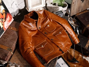 Image 3 - YR!Free shipping.Brand new classic casual style oil cowhide jacket,man slim oil genuine leather coat,vintage winter warm coat.RL