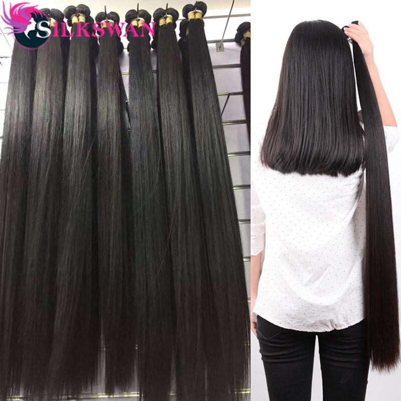 Silkswan-extensiones de cabello humano brasileño Remy, 5/10 unidades, al por mayor, 28 30 32 34 36 38 40 pulgadas