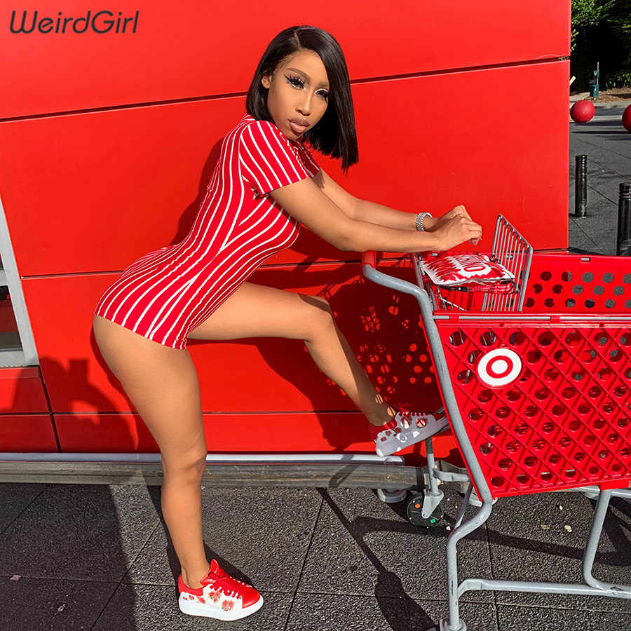 Weirdgirl frauen weiß rot gestreiften playsuits kurzarm drehen-unten collor strampler elastische dünne sexy femme hosen neue sommer