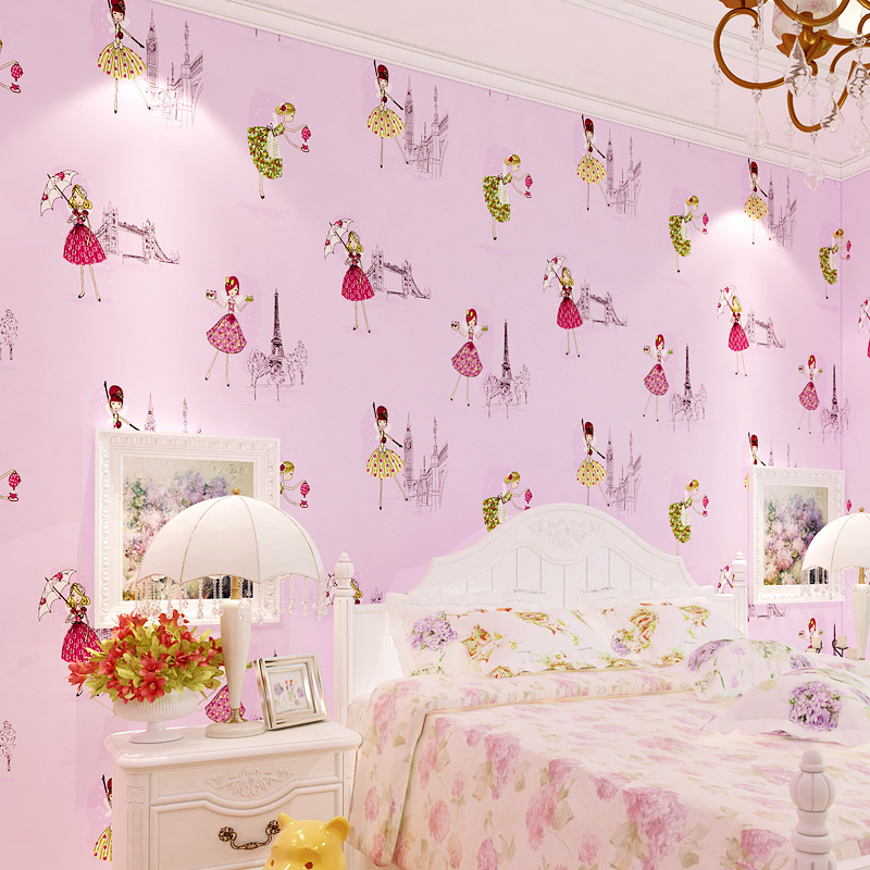 Cartoon CHILDREN'S Room Environmentally Friendly Non-woven Wallpaper Blue Pink Boys And Girls Bedroom Warm Seamless Wallpaper