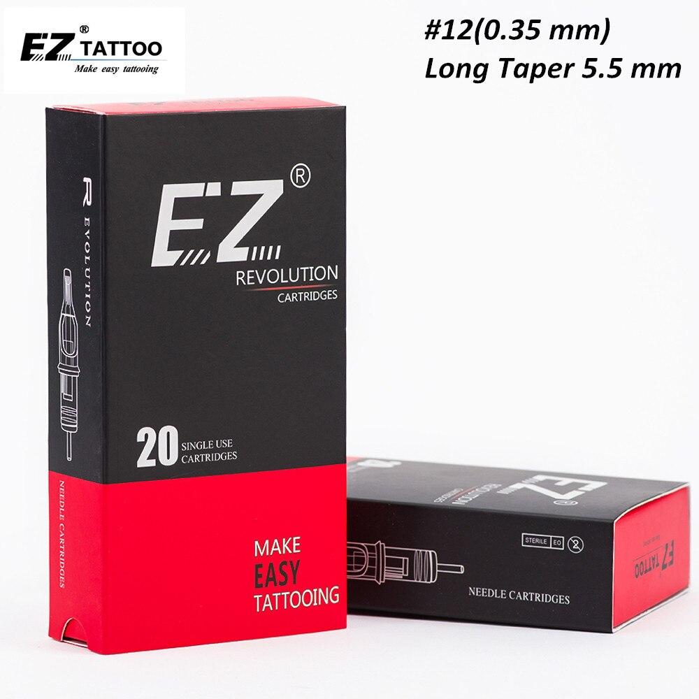 EZ революция татуировки картридж #12 (0,35 мм) изогнутый Magnum иглы для татуировки машины ручки Suppies 20 шт./кор.