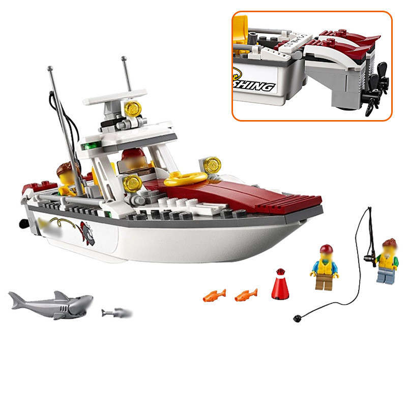 159pcs Fishing Boat Compatible With Legoinglys Building Blocks Toy Kit DIY Educaational Children Christmas Birthday Gifts