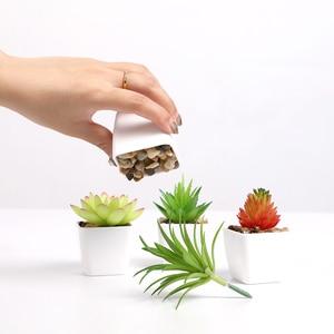 Image 4 - Erxiaobao 냄비 시뮬레이션 succulents와 사랑스러운 인공 식물 미니 분재 화분 배치 녹색 가짜 식물 테이블 장식