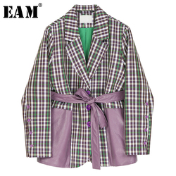 [EAM]  Women Plaid Pu Leather Big Size Blazer New Lapel Long Sleeve Loose Fit  Jacket Fashion Tide Spring Autumn 2020 1R318
