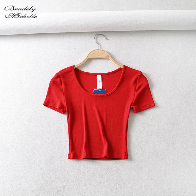 Bradely Michelle Casual Cotton New 2020 Summer Woman Slim Fit t-shirt tight Short-Sleeve O-neck tee Crop Tops 3