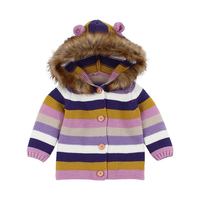 Toddler Kids Striped Knitted Coats Fashion Baby Boys Girls Sweater Hooded Cardigan Cute Unisex Warm Tops Clothes 6 24 Month A20