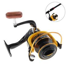 12BB 6000 Fishing Reels Spinning Wheel with 18kg Drag Power Double Colour Metal Line Cup & Wooden Handle Knob