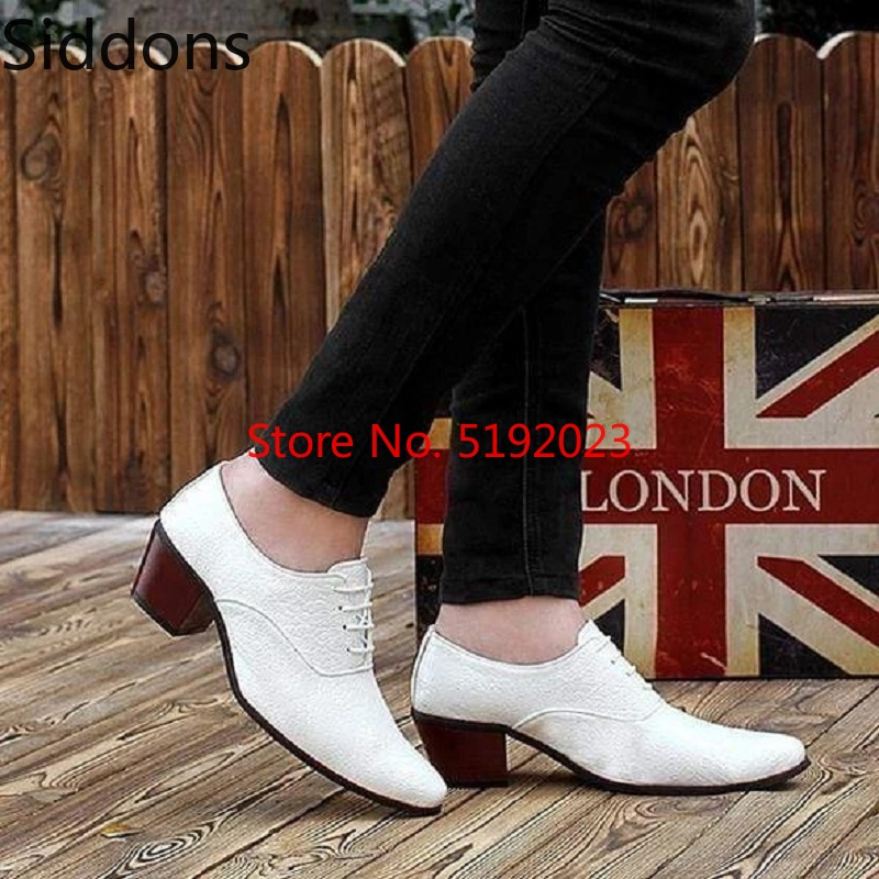 Men Leather Shoes High Heel Casual Oxford Shoes Dress Shoes Brogue Shoes Winter Ankle Boots Vintage Classic Male Casual BootD148