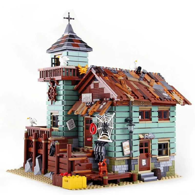 16050 Creator Ideas City Series Seaside Old Fishing Shop Building Block Bricks Toys Compatible with Legoinglys 21310 Movie