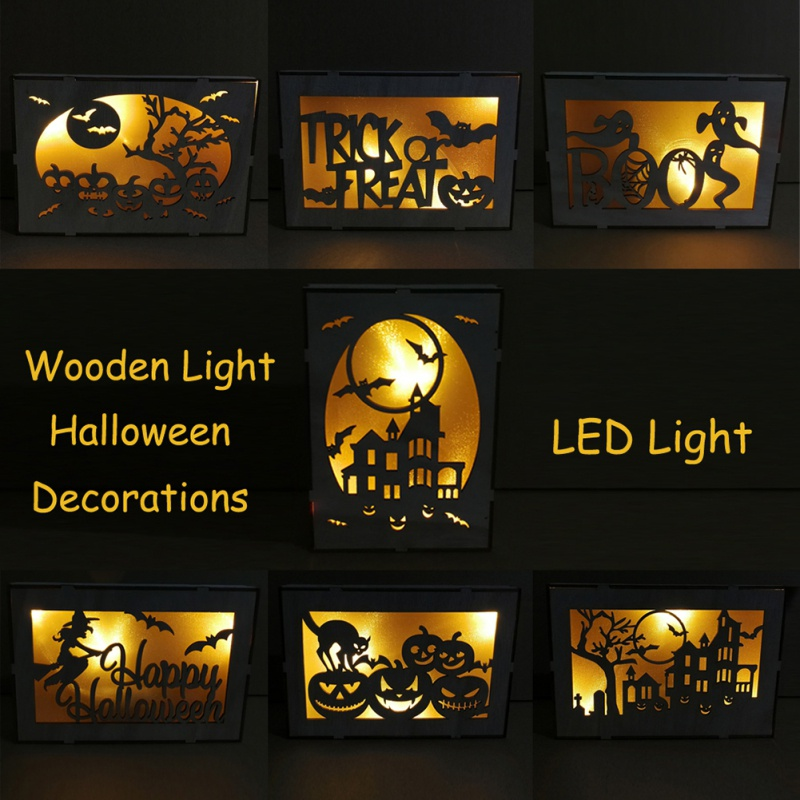 Wooden Halloween Rectangular Laser Hollow-out LED Lamp Decorative Hanging for room decoration