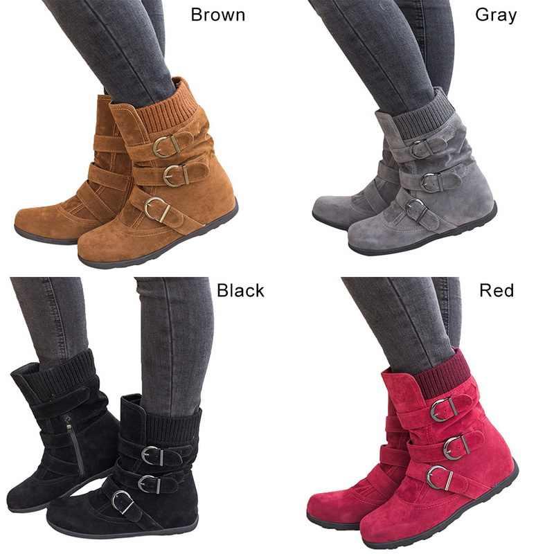 LOOZYKIT bottes femme fond plat grande taille court épais coton bottes fond plat marque bottes femmes