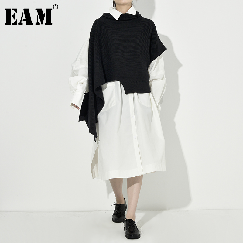 [EAM] Women Knitting Asymmetrical Two Piece Dress New High Collar Long Sleeve Loose Fit Fashion Spring Autumn 2020 1H20401