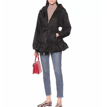 Women High Quality Summer Coat With Elastic Sash Hooded Ruffles Casual Trench Female Slim Out Dust coat 1