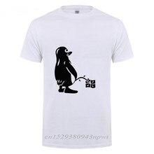 Camiseta de pingüino LINUX UBUNTU OZF para hombre, ropa de calle informal holgada de manga corta con cuello redondo, camiseta divertida de algodón, camisetas de verano