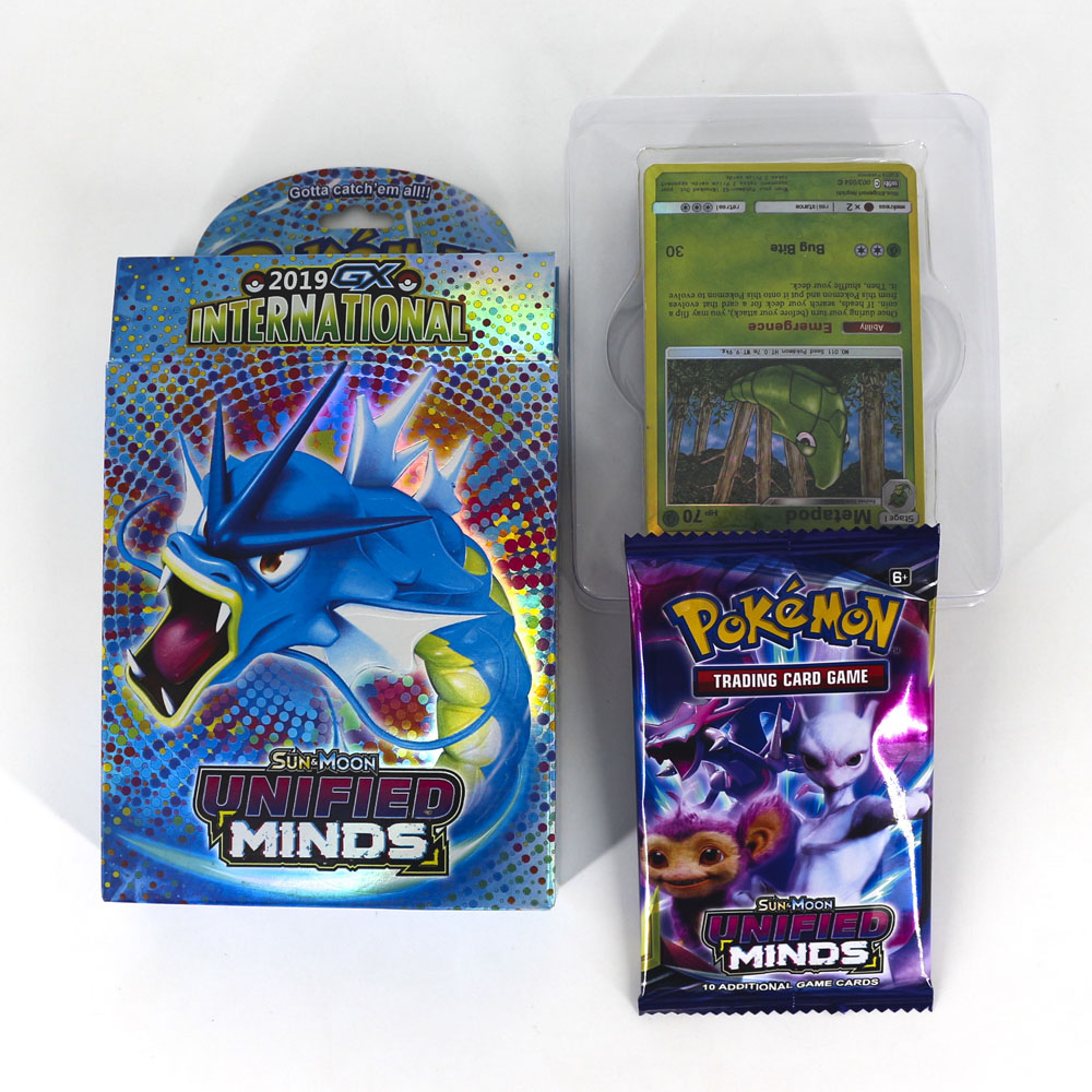 TAKARA TOMY Pokemon Cards SUN&MOON UNIFIED MINDS Board Game Flash Card 48pcs Battle Toys Shining Box For Kids