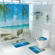 Sea Tree Summer Beach Printed Pattern Bathroom Shower Curtain Pedestal Rug Lid Toilet Cover Mat Non-Slip Bath Mat Carpet Set