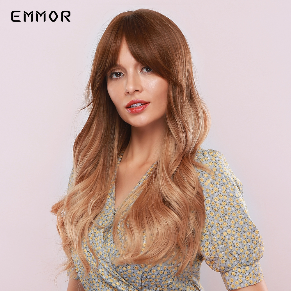 Permalink to -57%OFF Emmor Long Brown Blonde Ombre Synthetic Wigs with Bangs Layered Wavy Heat Resistant Hair Cosplay Daily Wig for White Black Women