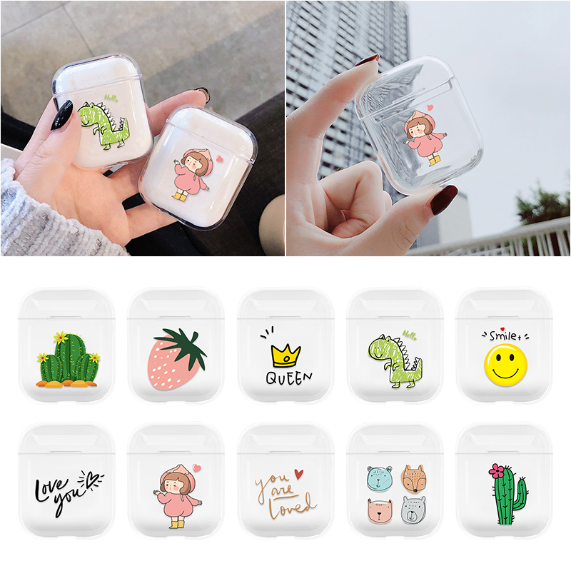 Transparent Case For Apple Airpods 2 1 Cute Lovely Heart Painted Hard PC Cases For AirPods Bags Protective Cover Wireless Box
