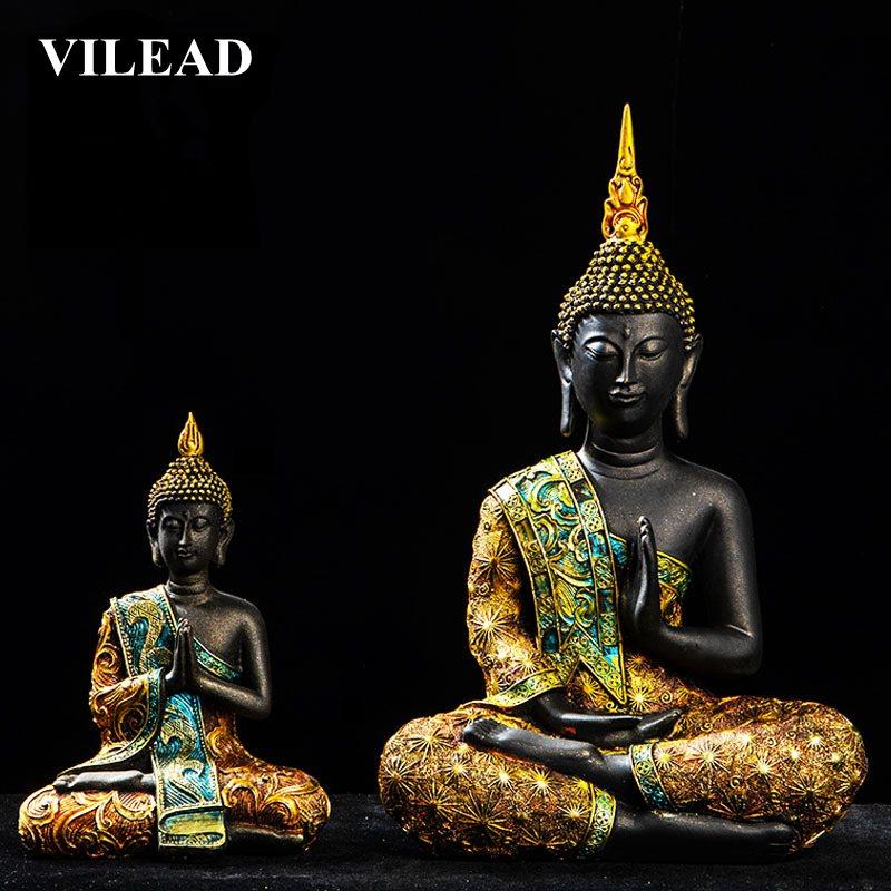 VILEAD 5 Style Buddha Statute Thailand Buda Resin Huddhism Figurines Fengshui Livingroom Home Decoration