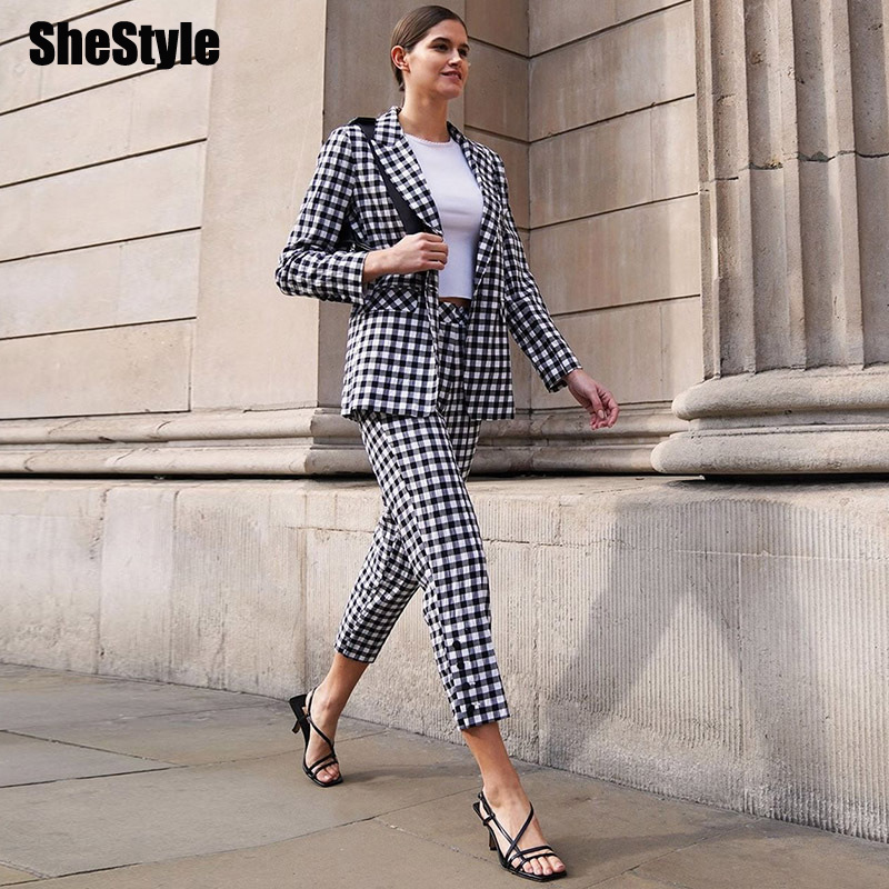 SheStyle Plaid Blazer Pant Suit Women Office Work Checkered Casual Streetwear Autumn 2 Piece Set For Woman Uniform Winter Suits