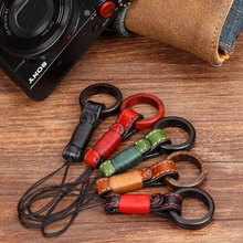 Handmade Original Wooden Leather Camera Finger Ring Straps Phone Hand Lanyard for Sony RX100II M2/M3 Canon G7X/G7X2 Fuji X100