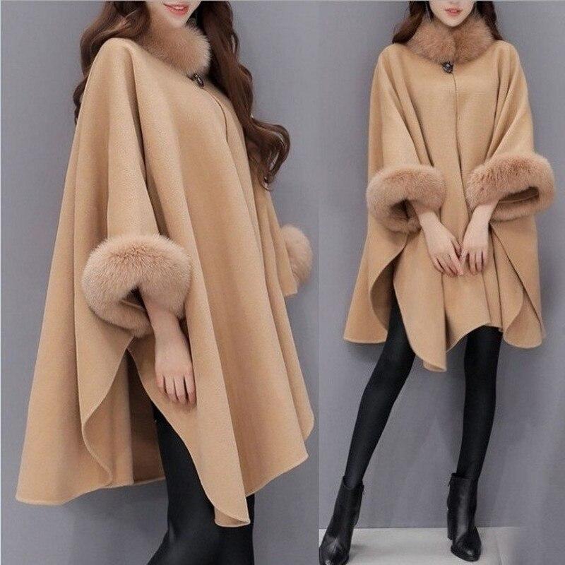 2019 Fox Fur Collar Long Wool Woolen Cloak Women Winter Camel Fur Coat Large Size 3XL Irregular Loose Wool Fur Outwear Jackets