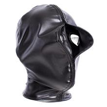 Double Layer BDSM Bondage Leather Hood Mask Zipper Closed Erotic Sex Toy Head Ha