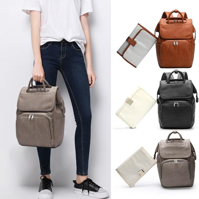 Multifunction Maternity Diaper Bag PU Leather Backpacks Convenient High-capacity Baby Diaper Changing Pad Stroller Rucksack