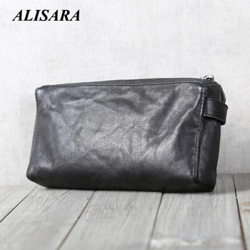 Men's Clutch Wallets Genuine Leather Handmade Top-end Casual Male Long Purses Cowhide Big Capacity Zipper Long Purses Money Bag