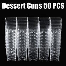 Mini bandeja cuadrada de plástico para postre, 50 Uds., 120ml, plato de muestra, pastel, gelatina o pudin, tazas, accesorios de cocina para fiestas, 5*5*7cm