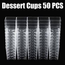 Mini cubo quadrado de sobremesa 50 peças, 120ml amostra plástica bandeja de prato bolo gelatina copos pudim festa acessórios de cozinha 5*5*7cm