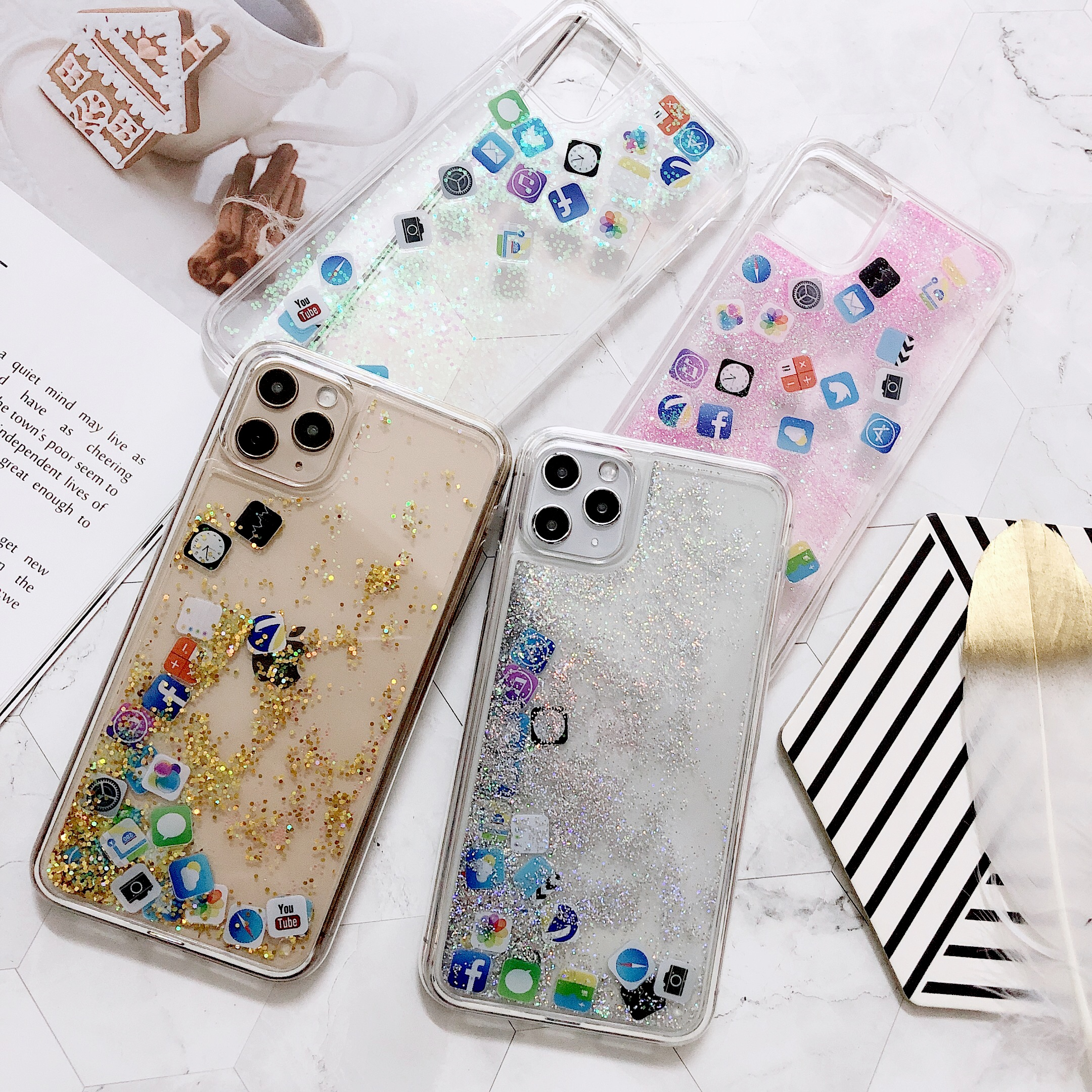 Dynamic Liquid Glitter Star Phone Case For iPhone Xs Max X Xr iPhone 7 8 6 6s Plus iPhone 11 Pro Max APP icon Hard PC Cover case image