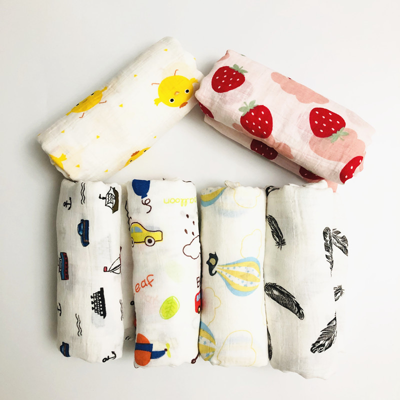 Ins Muslin Swaddle Blanket 100% Cotton Baby Swaddles Newborn Blankets Bath Gauze Infant Wrap Sleepsack Stroller Cover Play Mat