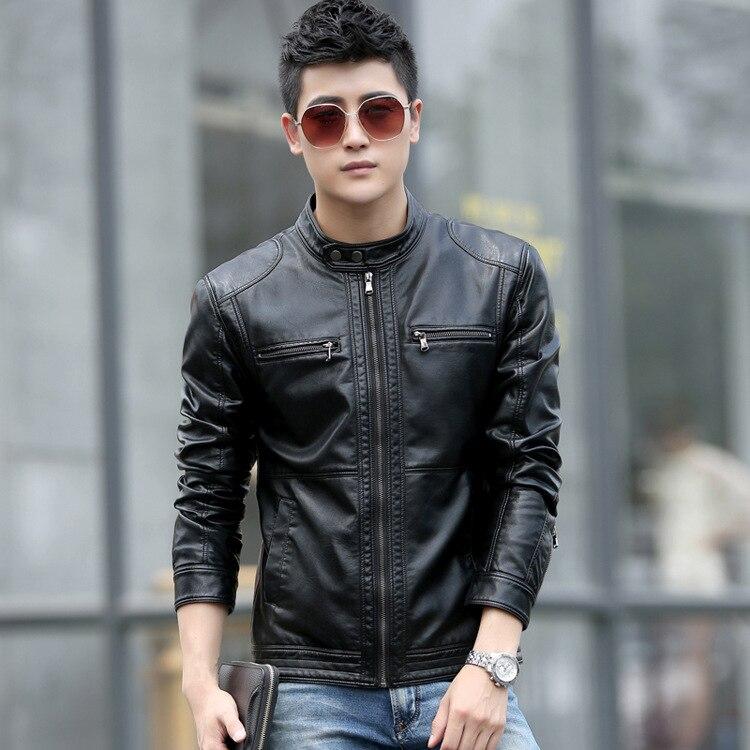 W Haining натуральная кожа Одежда Мужская овечья кожа мужское кожаное пальто короткий корейский стиль тренд весна и осень кожаная куртка