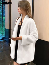 Lautaro Winter White Warm Fluffy Faux Fur Jacket Women Deep V Neck Pockets Raglan Sleeve 2021 New Arrival Hot Korean Clothes XXL